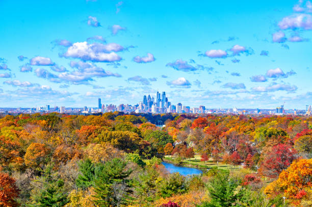 Aerial View Of Center City Philadelphia PA with Fall Colors stock photo