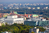 Aerial view of center of Warsaw in Poland - downtown, Old town and Praga district