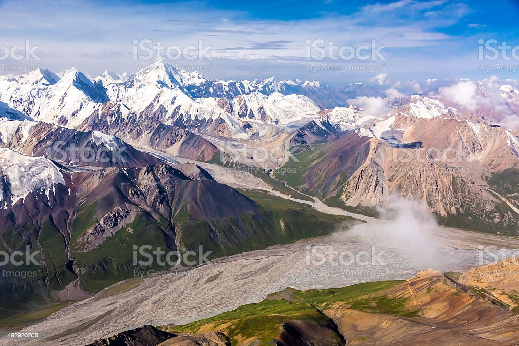 Aerial View of Central Asia Mountain Landscape stock photo