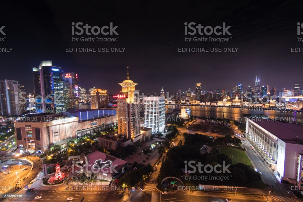 Aerial view of central in Shanghai, China with Disney store stock photo