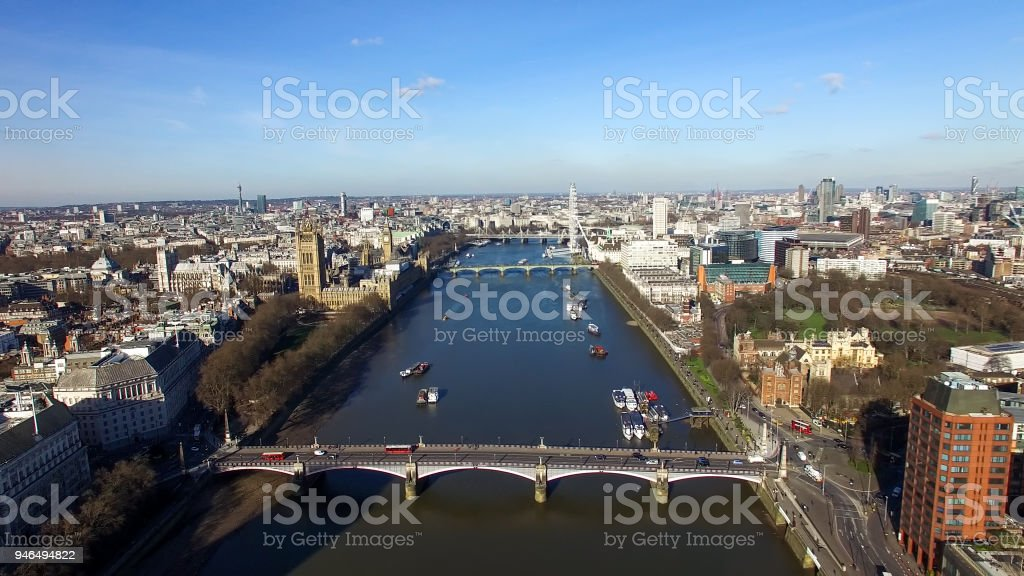 Aerial View of Central London Big Ben Clock Tower Parliament stock photo