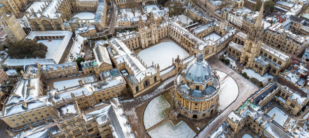 Aerial view of central Oxford, United Kingdom stock photo