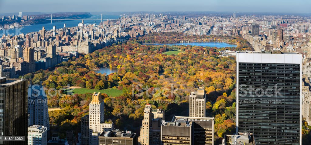 Aerial view of Central Park in Autumn. Manhattan, New York City stock photo