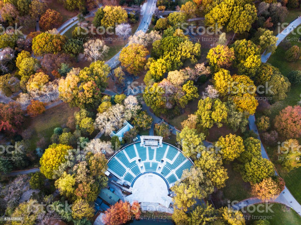 Aerial view of Central park theater in autumn stock photo