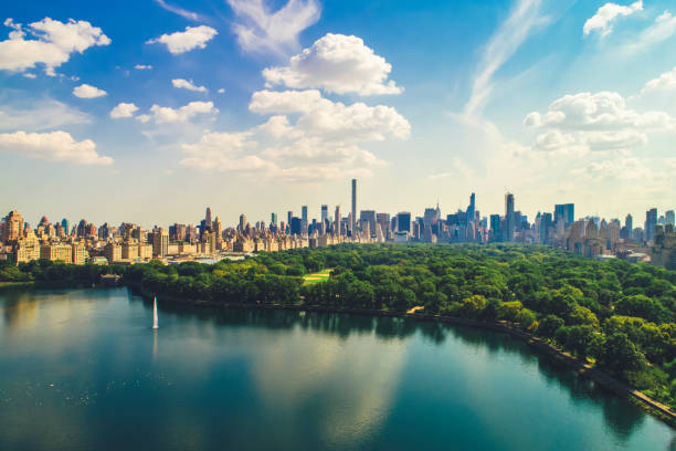 Aerial view of Central Park with Manhattan skyline stock photo