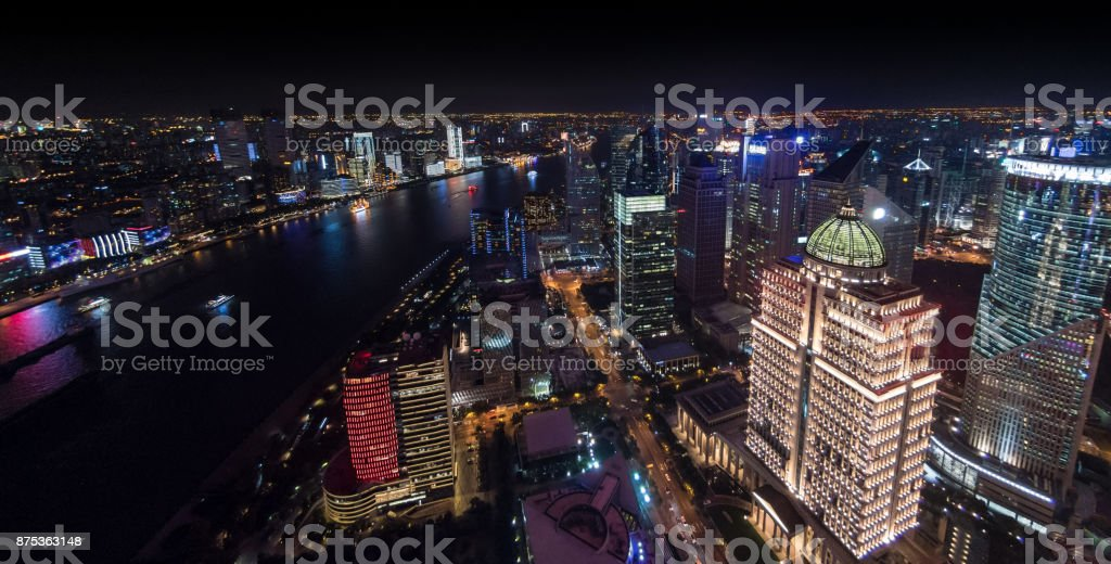 Aerial view of Central Shanghai Skyline at night stock photo