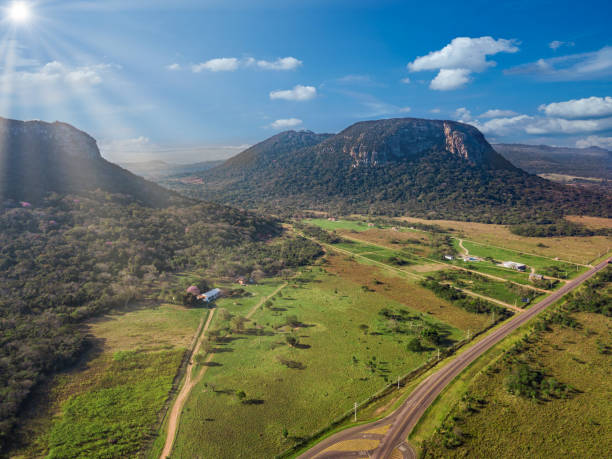 Aerial view of Cerro Paraguari. These Mountains are one of most iconic landmarks in Paraguay. stock photo