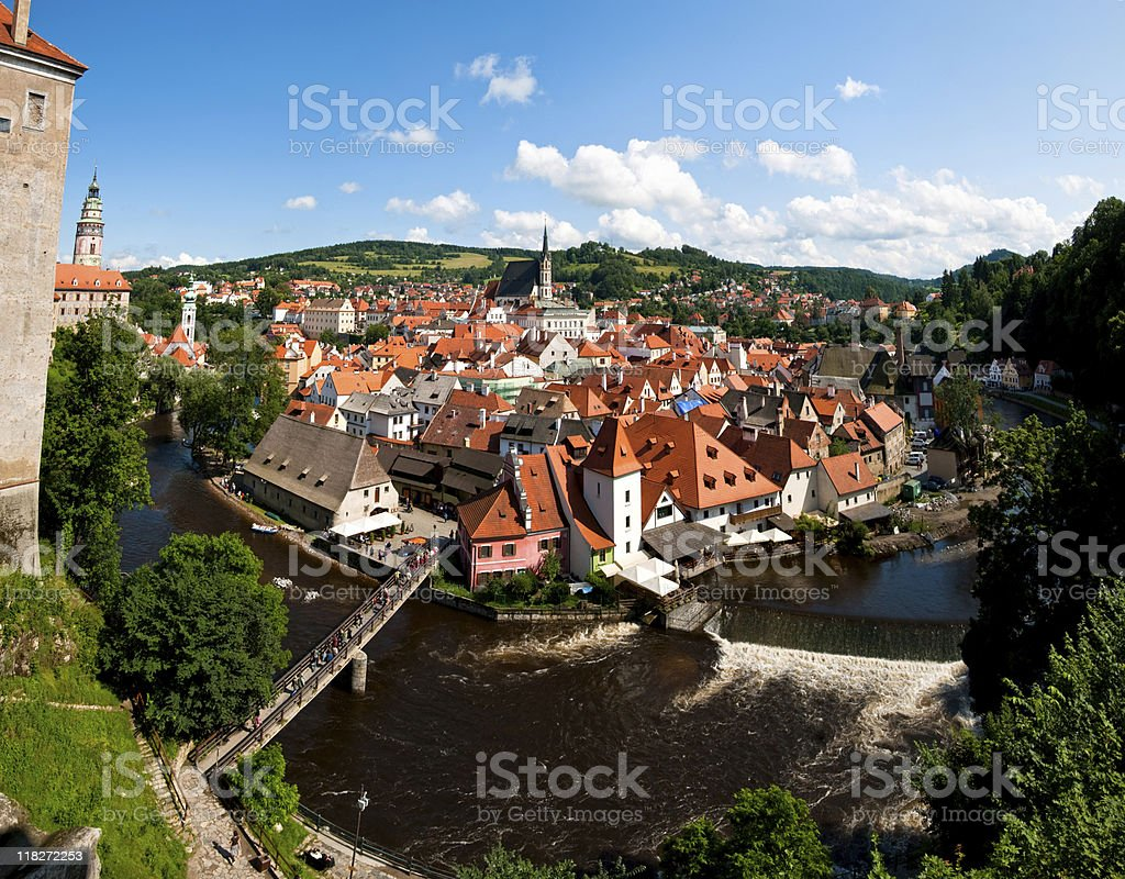 Aerial view of Cesky Krumlov village stock photo