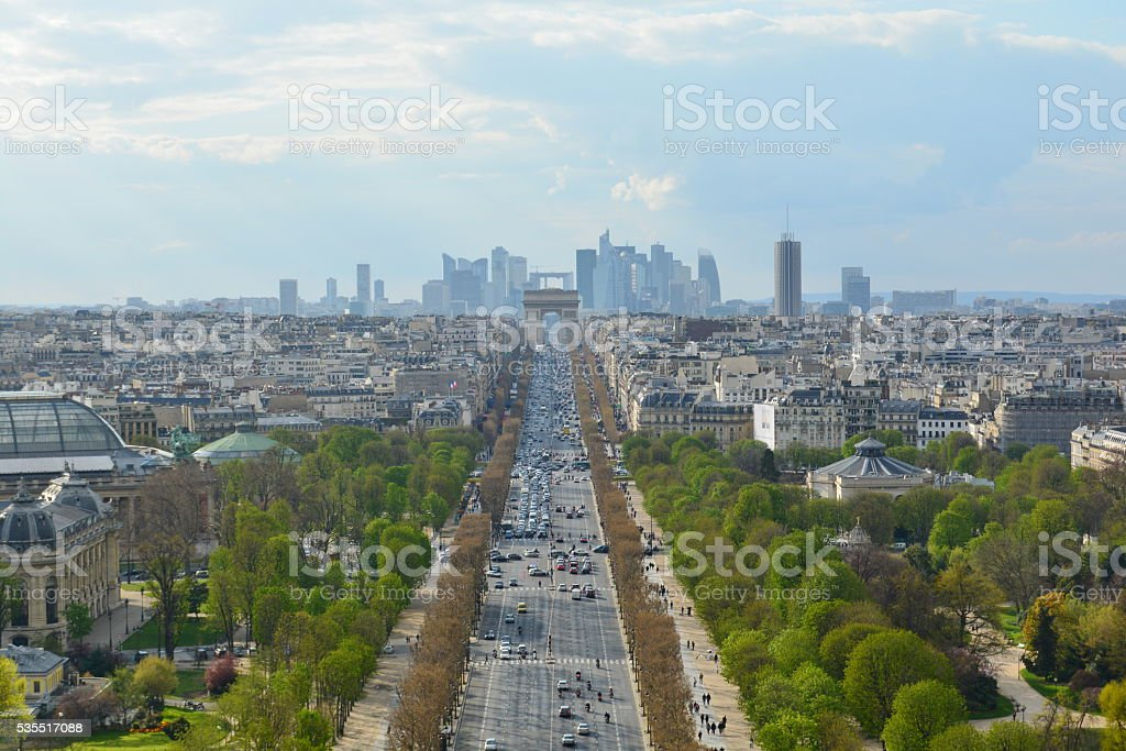 aerial view of Champs Elysees, Paris, France. stock photo