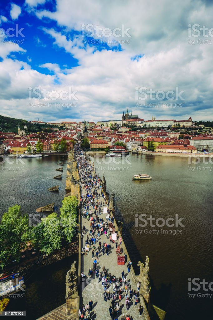 Aerial View of Charles Bridge and Prague Castle over Vltava River stock photo