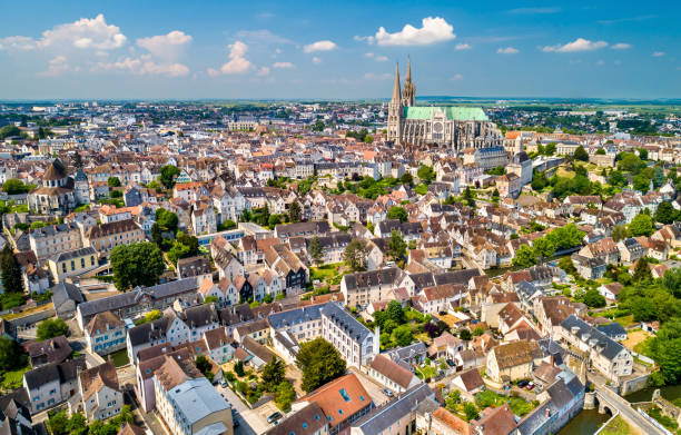 Aerial view of Chartres city with the Cathedral. A UNESCO world heritage site in Eure-et-Loir, France stock photo