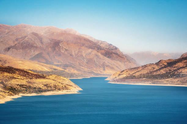 Aerial view of Charvak Lake, Uzbekistan stock photo
