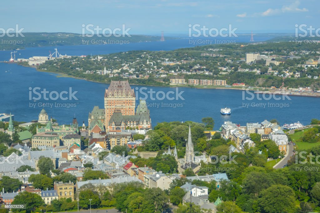 Aerial view of Chateau Frontenac hotel and Old Port stock photo