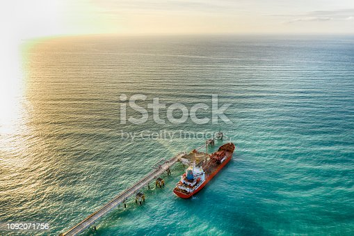 Aerial view of chemical tanker waiting for loading