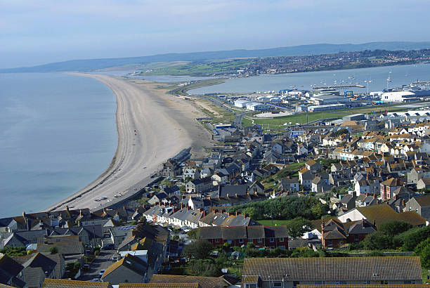 Aerial view of Chesil Beach, Isle of Portland England stock photo