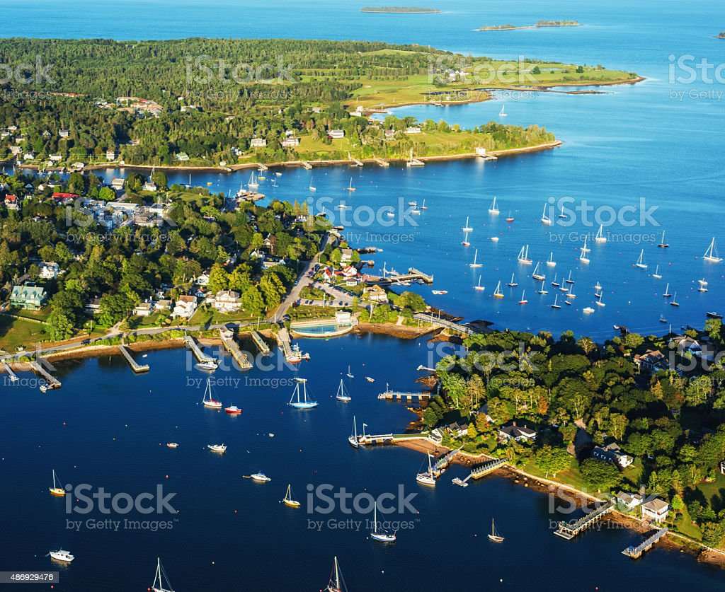 Aerial View of Chester Nova Scotia stock photo