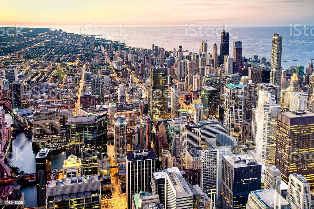 Aerial View of Chicago at Dusk stock photo