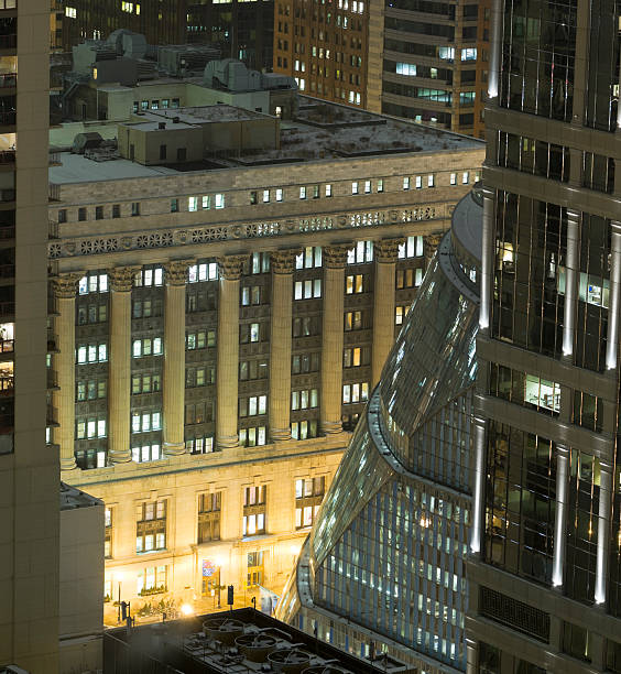 Aerial View of Chicago City Hall at Night (XXXL) stock photo