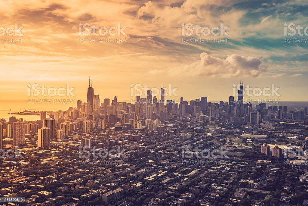 空から見たシカゴのダウンタウン ストックフォト
