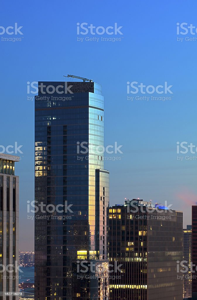 Aerial View of Chicago High-Rises at Dusk stock photo