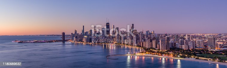 Aerial View of Chicago Lake Shore Dr at sunrise - October 2019