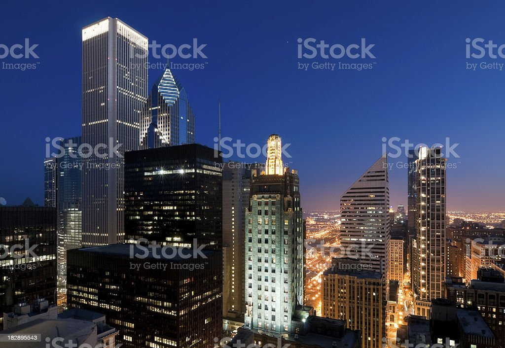 Aerial View of Chicago Loop at Dusk royalty-free stock photo