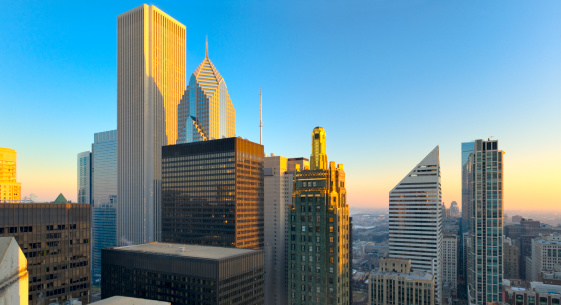 Aerial View of Chicago Loop at Sunset (XXXL)