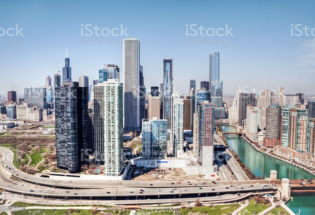 Aerial View of Chicago Skyline and Lake Michigan Harbor Front royalty-free stock photo