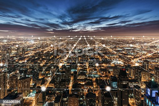 istock Aerial View of Chicago Skyline at Night 956109394