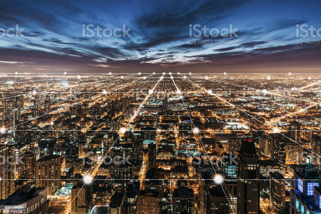 Aerial View of Chicago Skyline at Night stock photo