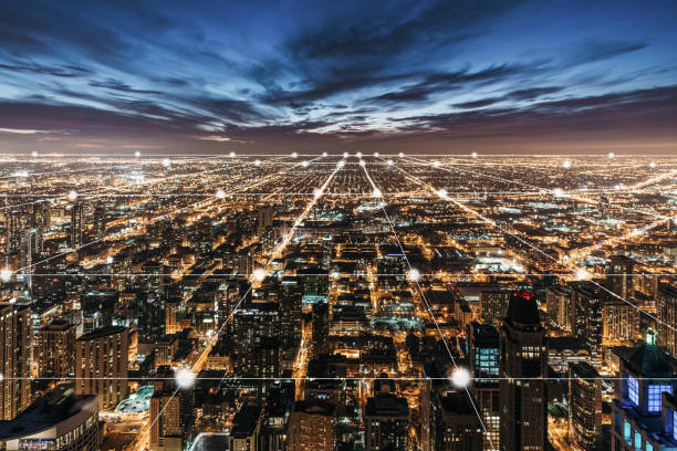 Aerial View of Chicago Skyline at Night Aerial View of Chicago Skyline at Night smart city stock pictures, royalty-free photos & images