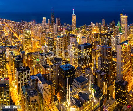 Sunset aerial view of Chicago Skylines building and Lake Michigan at Chicago downtown in Chicago City Illinois USA.