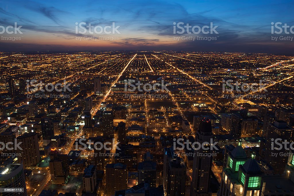 Aerial view of Chicago streets at night stock photo