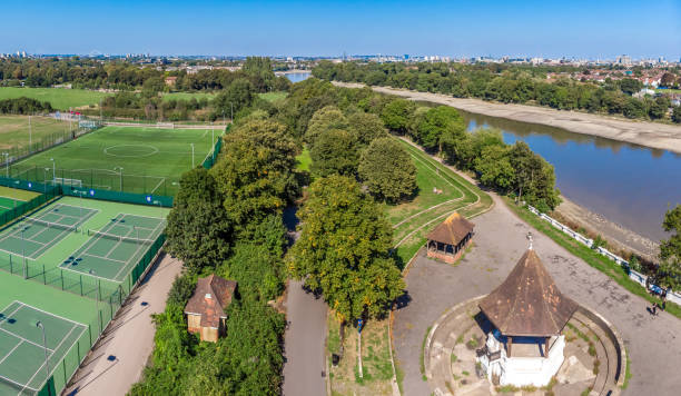 Aerial view of Chiswick and river Thames in summer, London stock photo