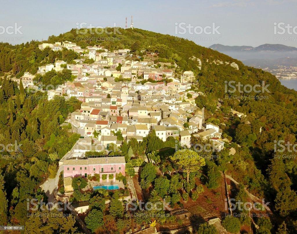 Aerial view of Chlomos, Corfu, Greece stock photo