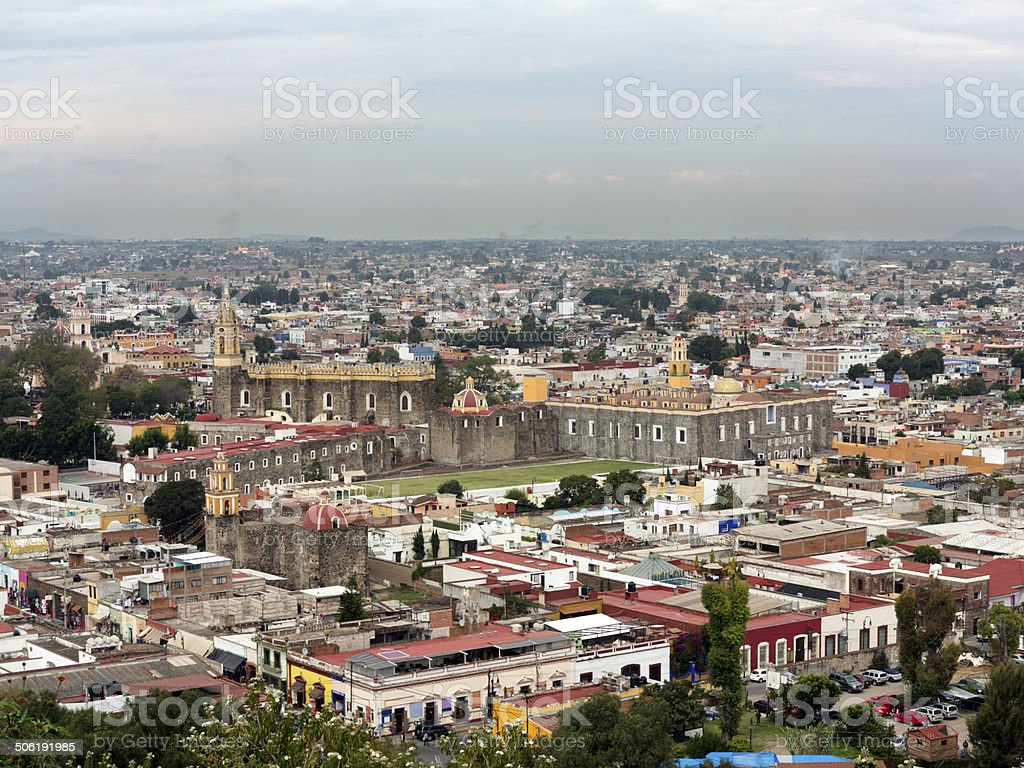 Aerial view of Cholula, Mexico stock photo