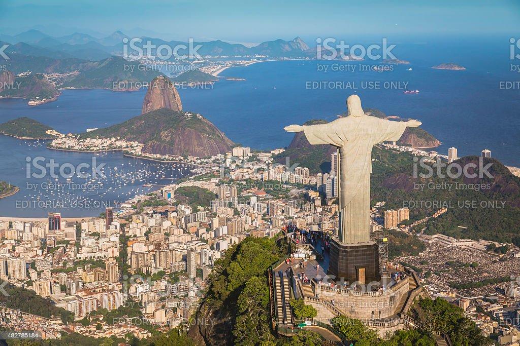 Vista aérea de Cristo e Botafogo baía do alto ângulo - foto de acervo