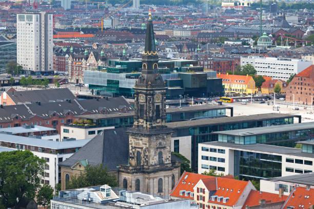 Aerial view of Christian's Church in Copenhagen stock photo