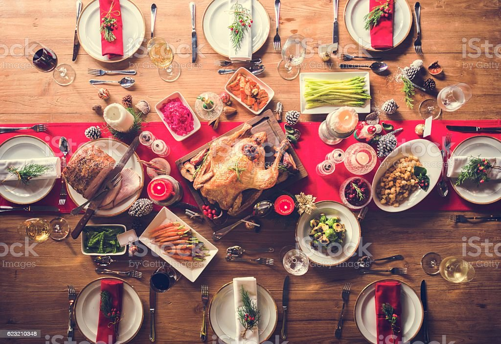 Aerial view of christmas feast on the table stock photo
