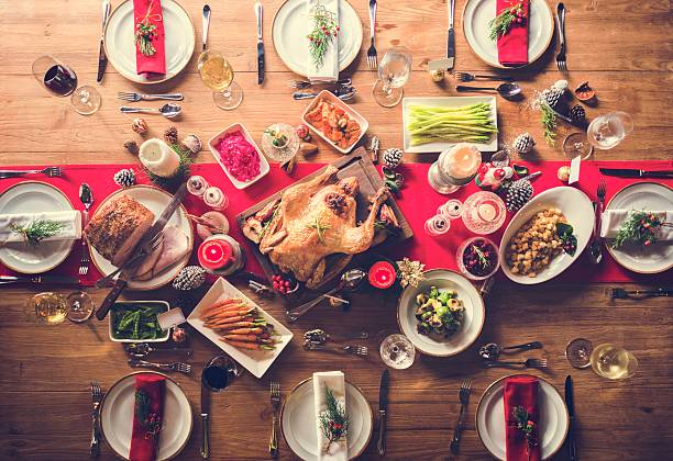Aerial view of christmas feast on the table - foto stock