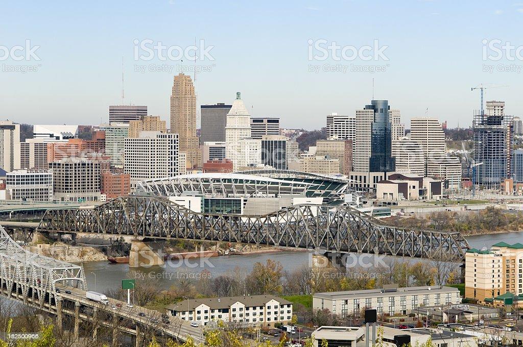 Aerial View of Cincinnati royalty-free stock photo