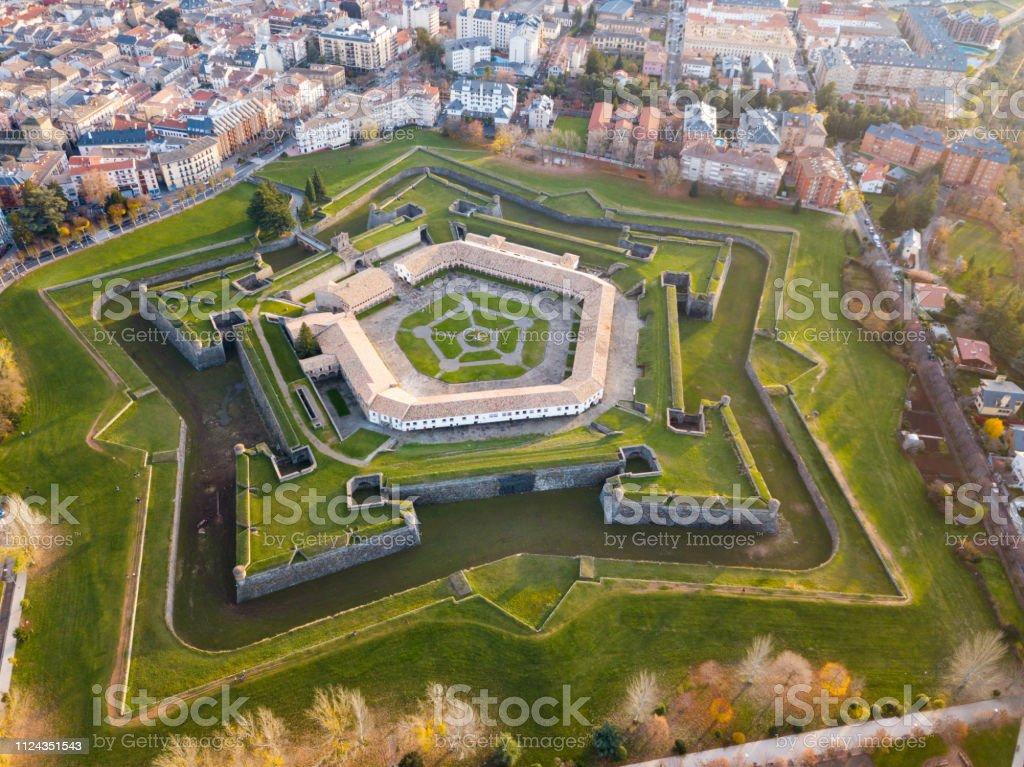 Aerial view of Citadel of Jaca, Spain stock photo