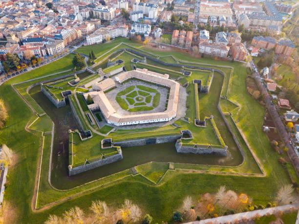 Vista aérea da Cidadela de Jaca, Espanha - foto de acervo