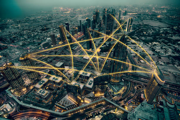 Aerial view of city at night. Social media connection concept. Photo manipulation. Aerial view of city at night. Social media connection concept. Photo manipulation. urban sprawl stock pictures, royalty-free photos & images