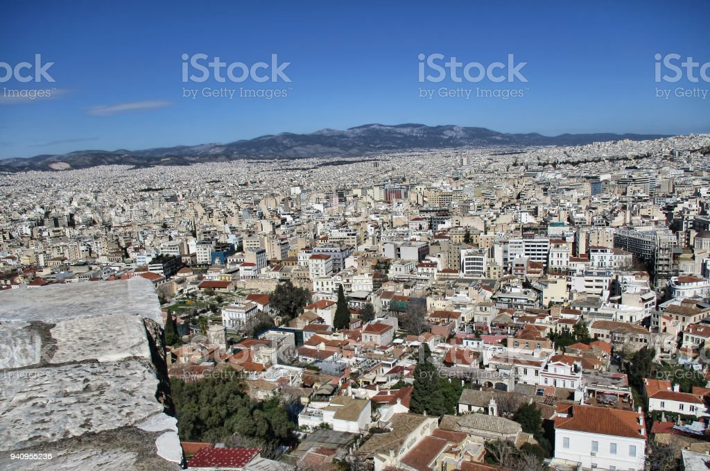 Aerial View Of City Athena Stock Photo More Pictures Of Acropolis