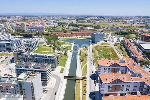 Aerial view of the main channel of the city of Aveiro, Portugal.