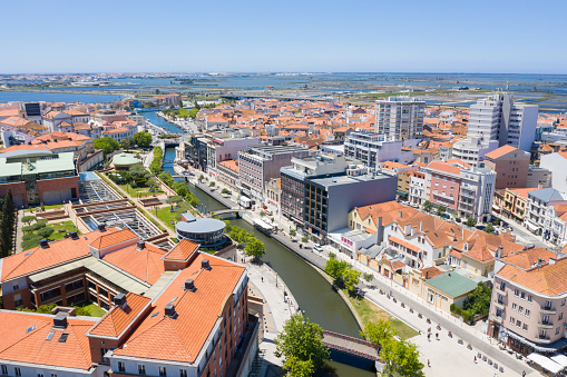 Aveiro, Portugal. June 12, 2019: Aerial view of the main channel of the city of Aveiro, Portugal.