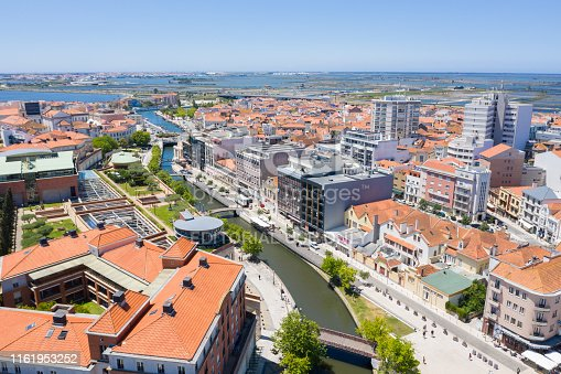 Aveiro, Portugal. June 12, 2019: Aerial view of the main channel of the city of Aveiro, Portugal.
