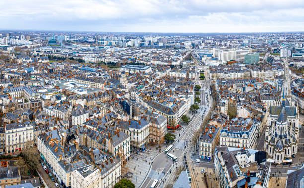 Aerial view of city center of Nantes in France stock photo