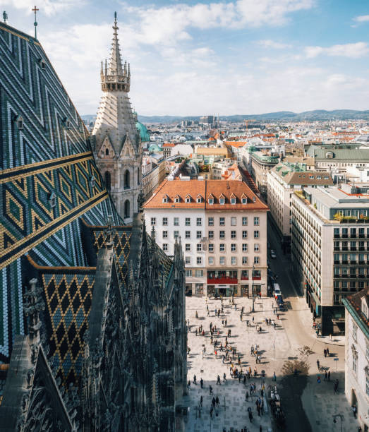 Aerial view of city center Vienna, Austria stock photo